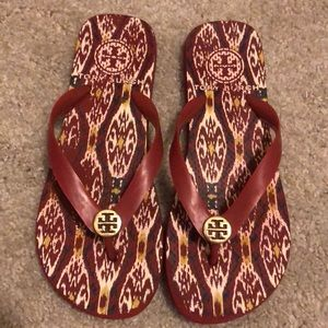 Red Tory Burch flip flops
